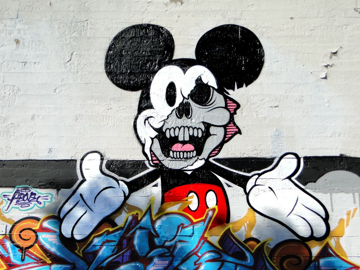 Demonic Mickey Funny Art Cool Graffiti Artistic Street Art Mickey