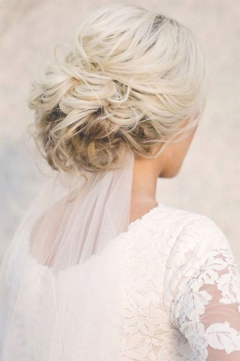 classical wedding hairstyles messy textured with bridal veil