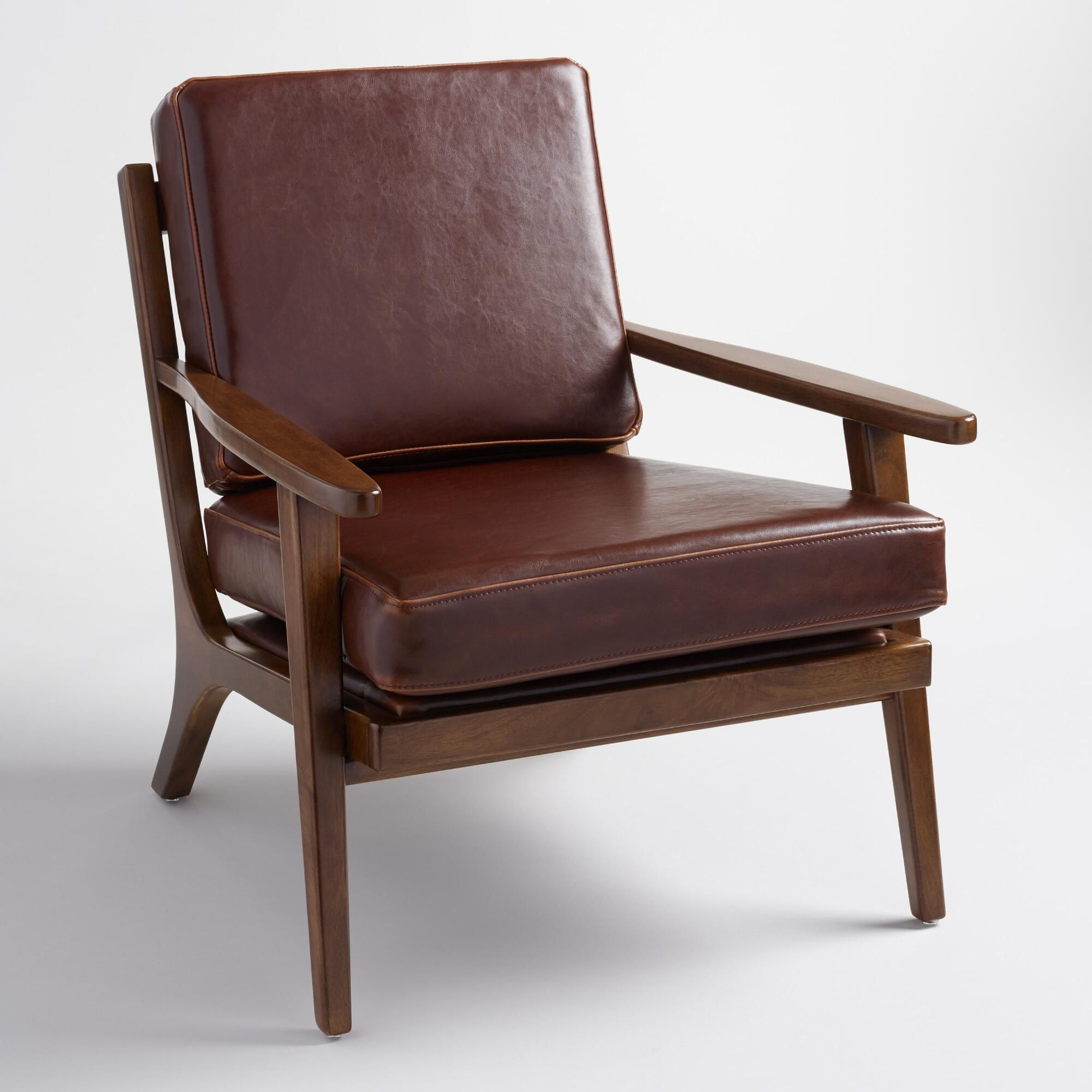 Charmant Whiskey Bi Cast Leather Xander Armchair: Brown By World Market