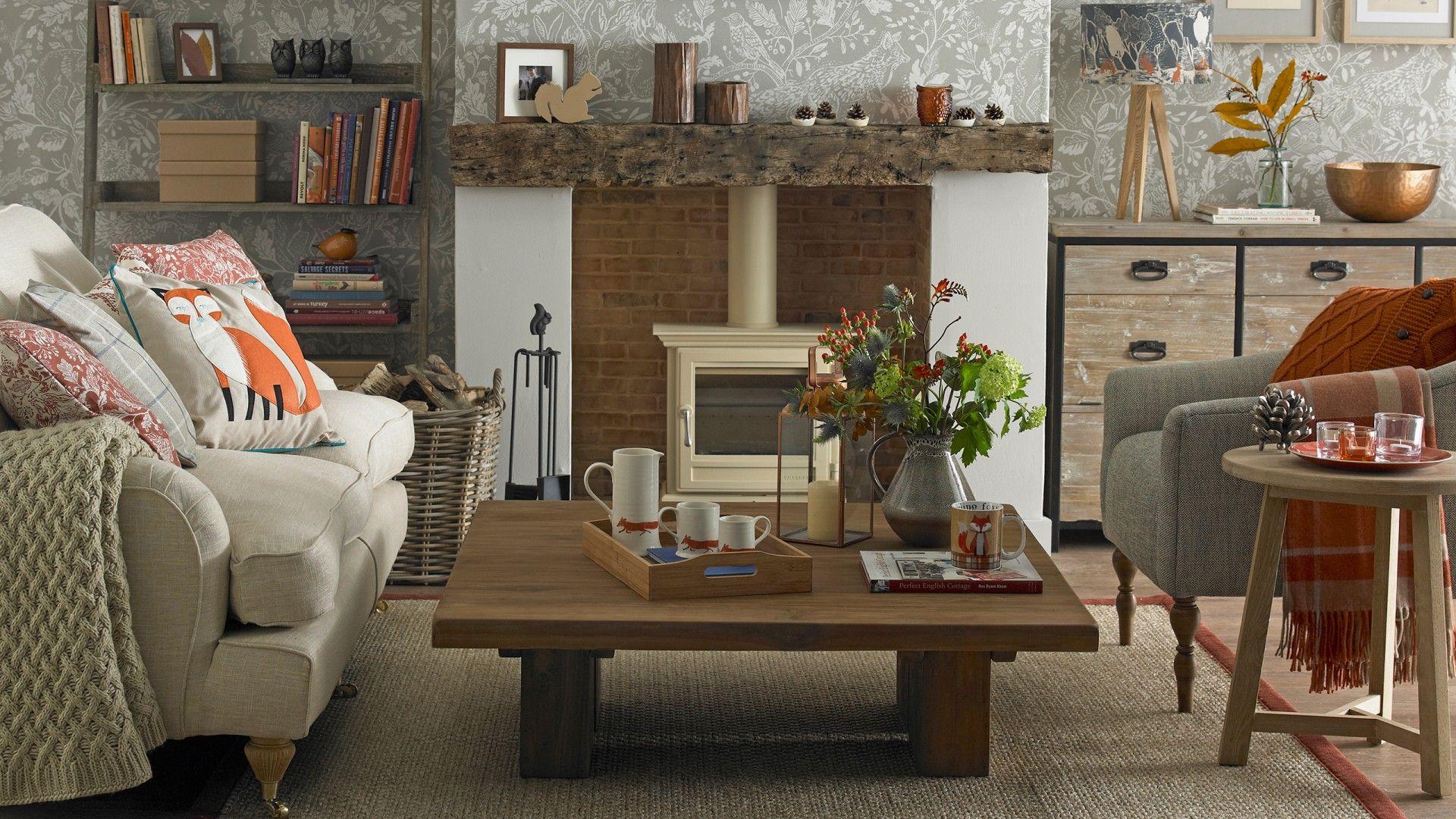 Rustic orange living room