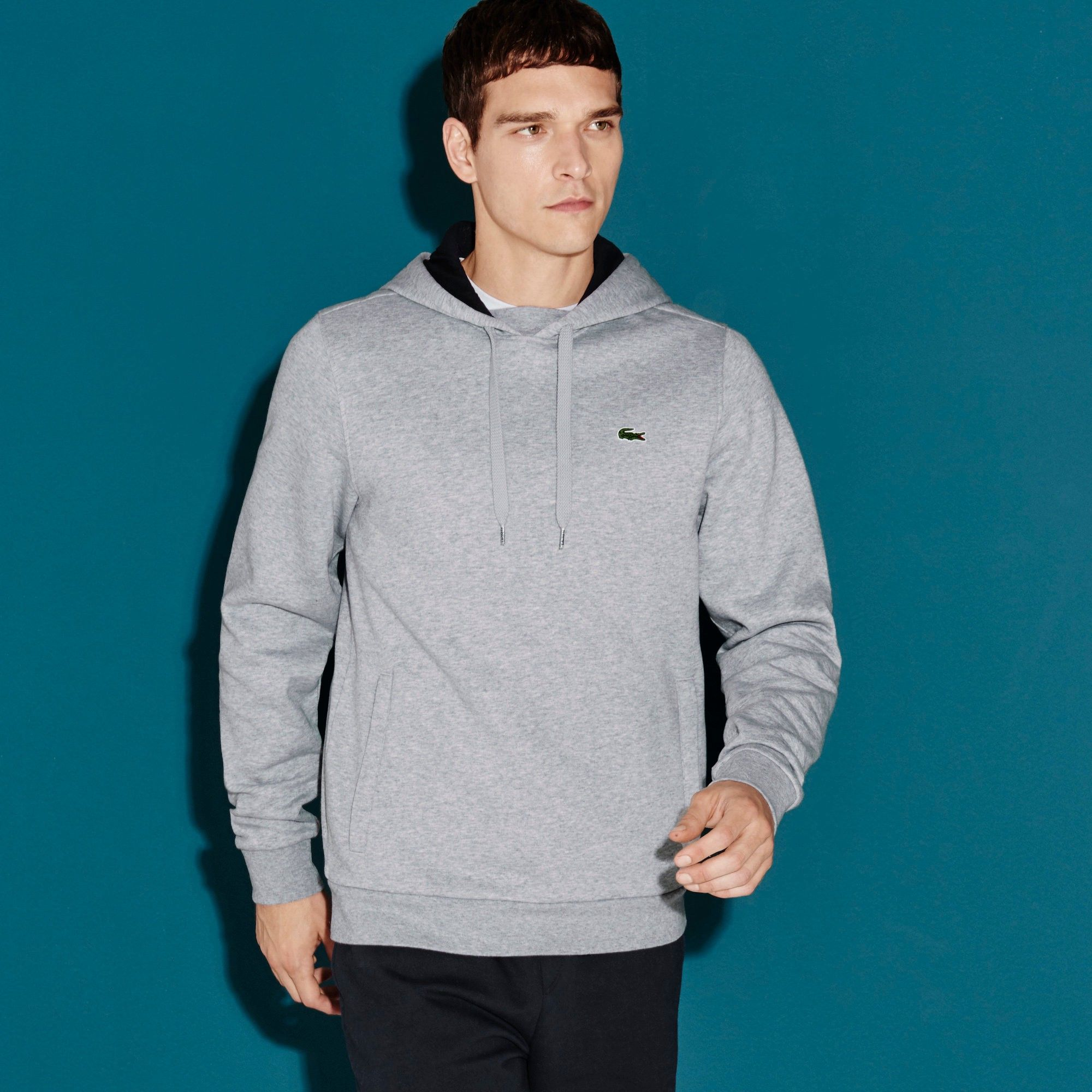 LACOSTE Men s Lacoste Sport Hooded Fleece Tennis Sweatshirt - silver navy  blue.  lacoste  cloth   82d6a750a0b9