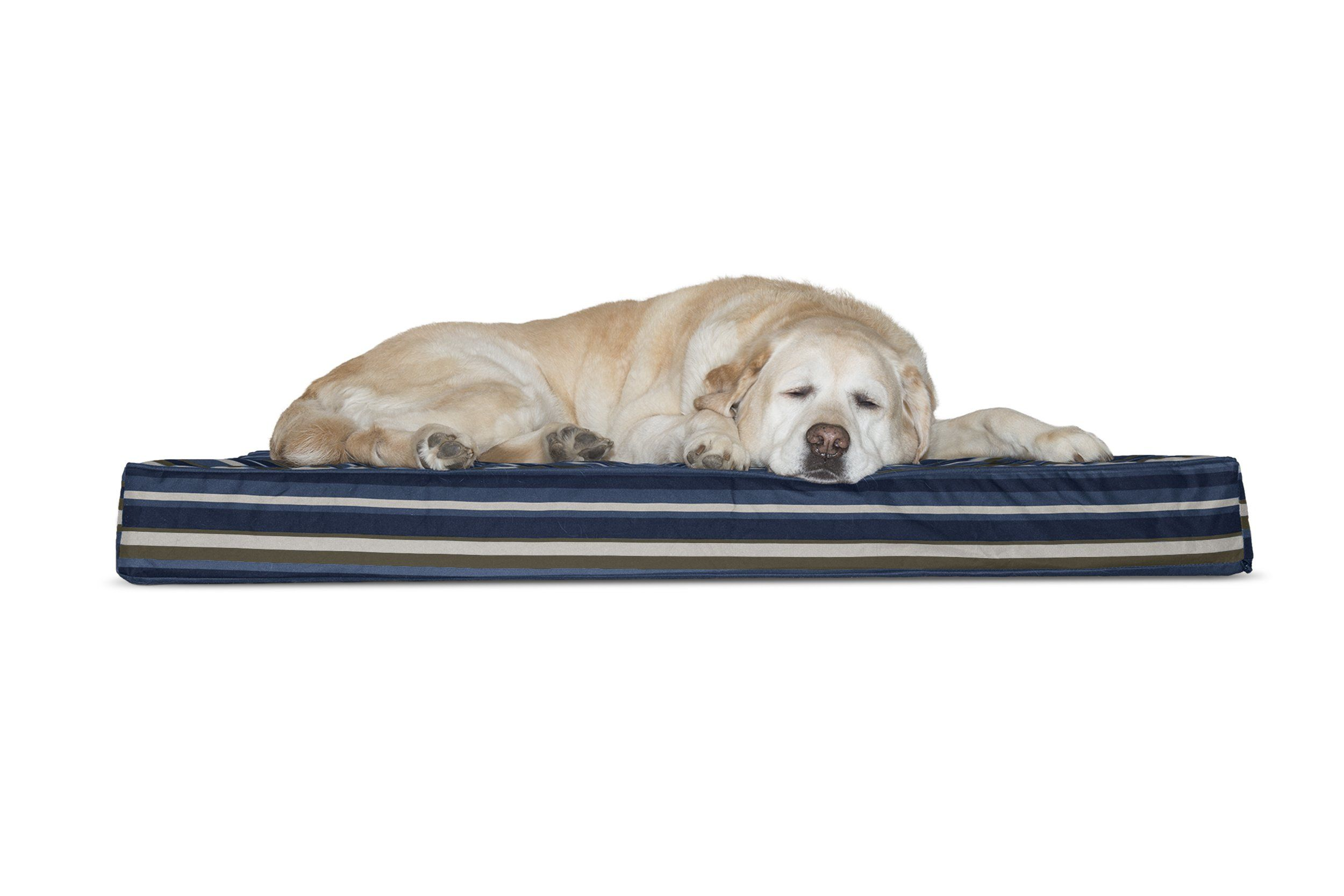 Furhaven Deluxe Orthopedic Indoor Outdoor Pet Bed Mattress For Dogs And Cats Striped Blue Jumbo Want Additional Dog Pet Beds Dog Pillow Bed Outdoor Pet Bed