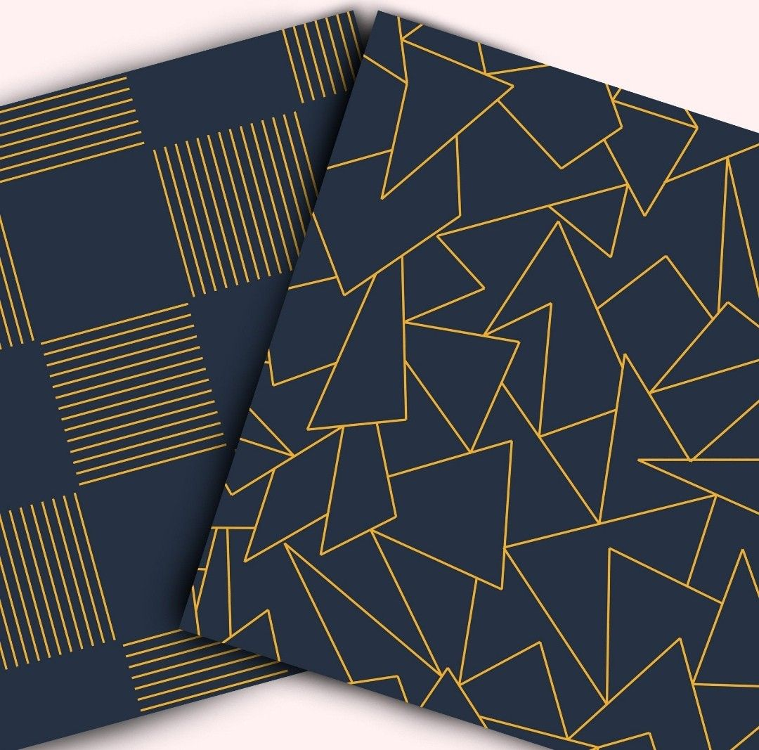 Navy Blue Digital Background With Golden Abstract Lines