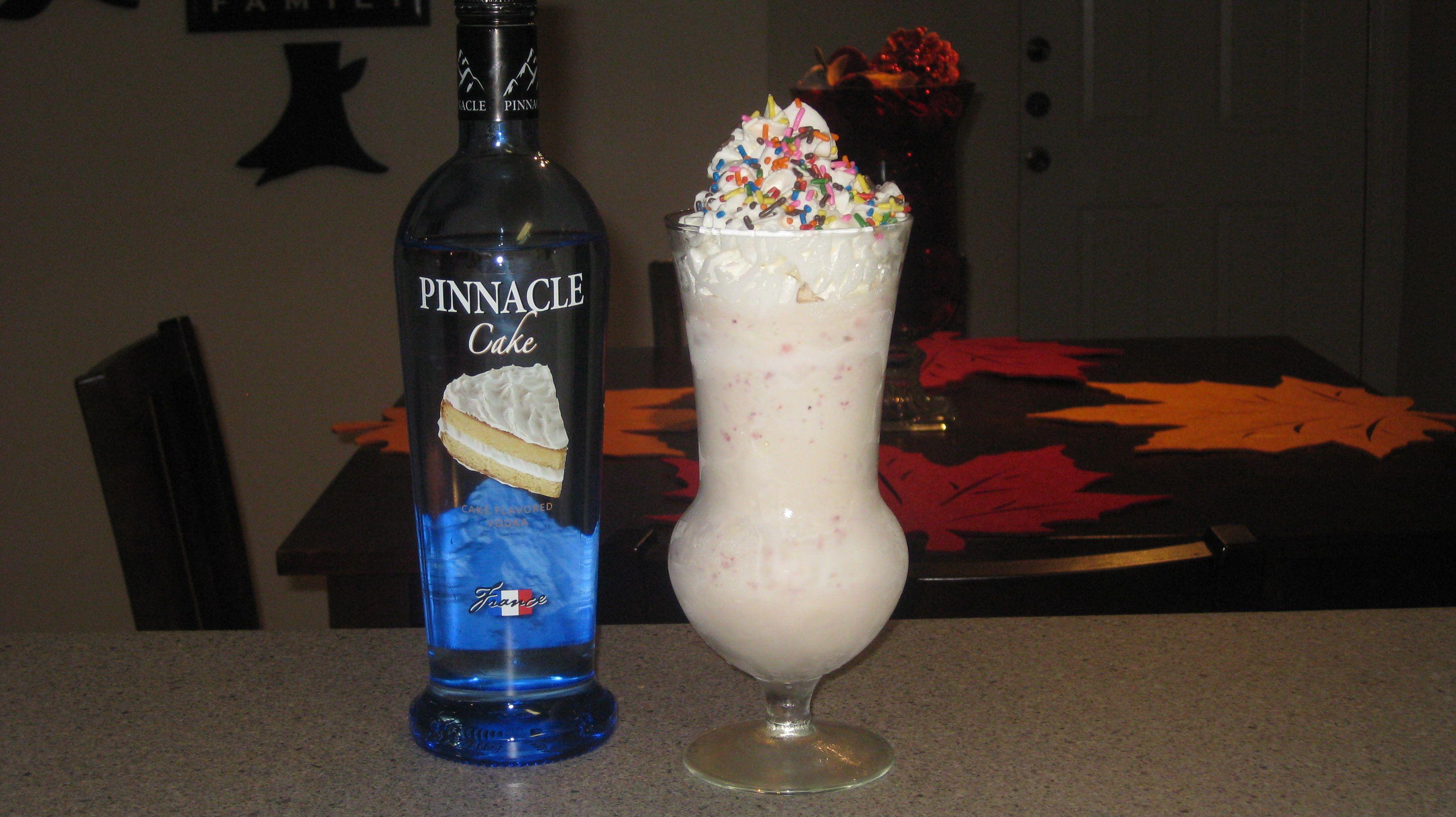 Spiked Milkshake 3 oz Pinnacle Cake Vodka 5 Strawberries 8 scoops