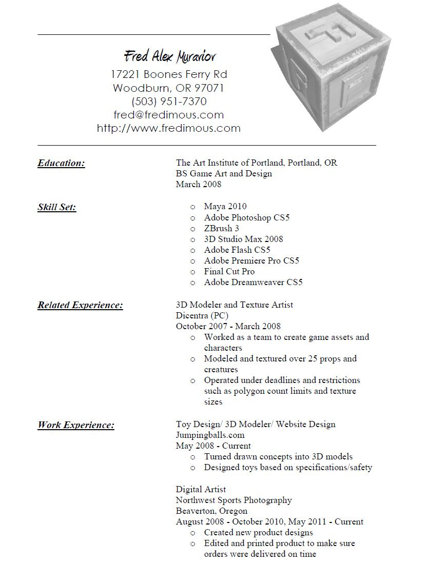 Resume Format 3d Artist With Images Artist Resume Graphic