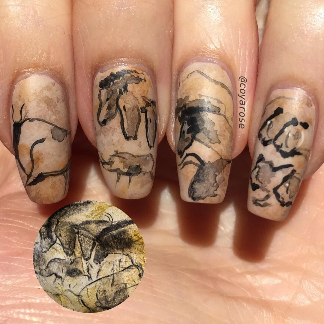 Chauvet cave prehistoric paleolithic horse lion nails nail art ...