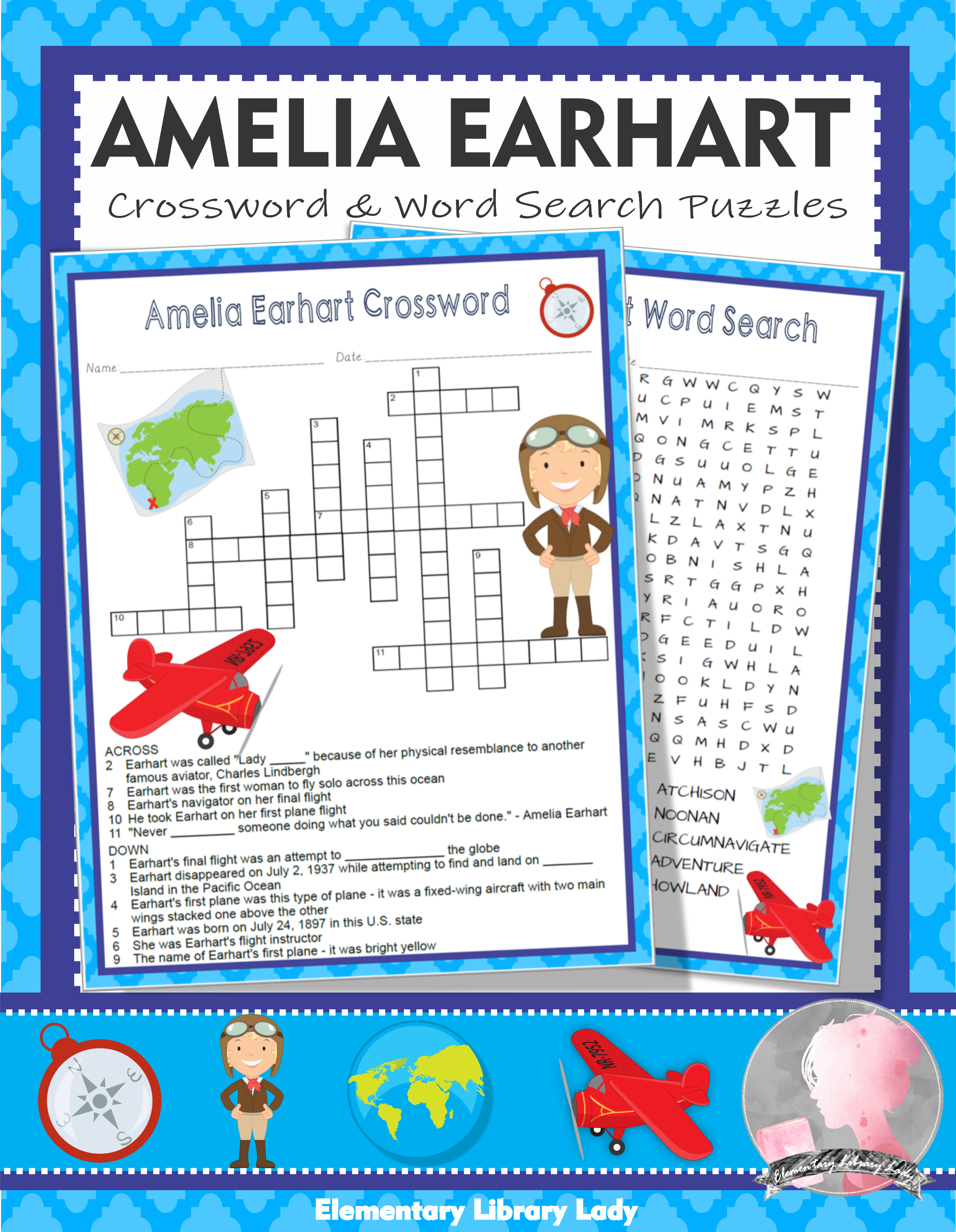 Amelia Earhart Activities Crossword Puzzle And Word