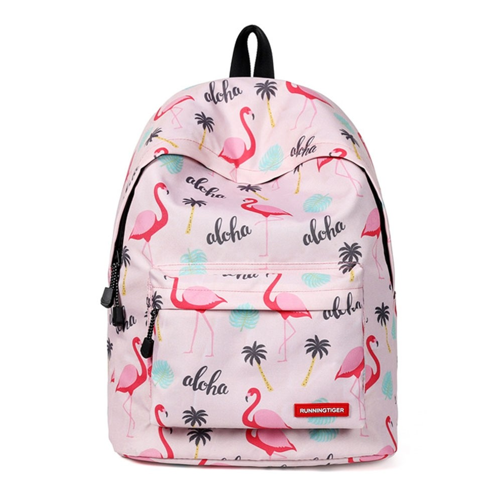 Photo of Pink Backpack Bookbag for Girls Flamingo Prints School Bag Travel Lightweight Bag