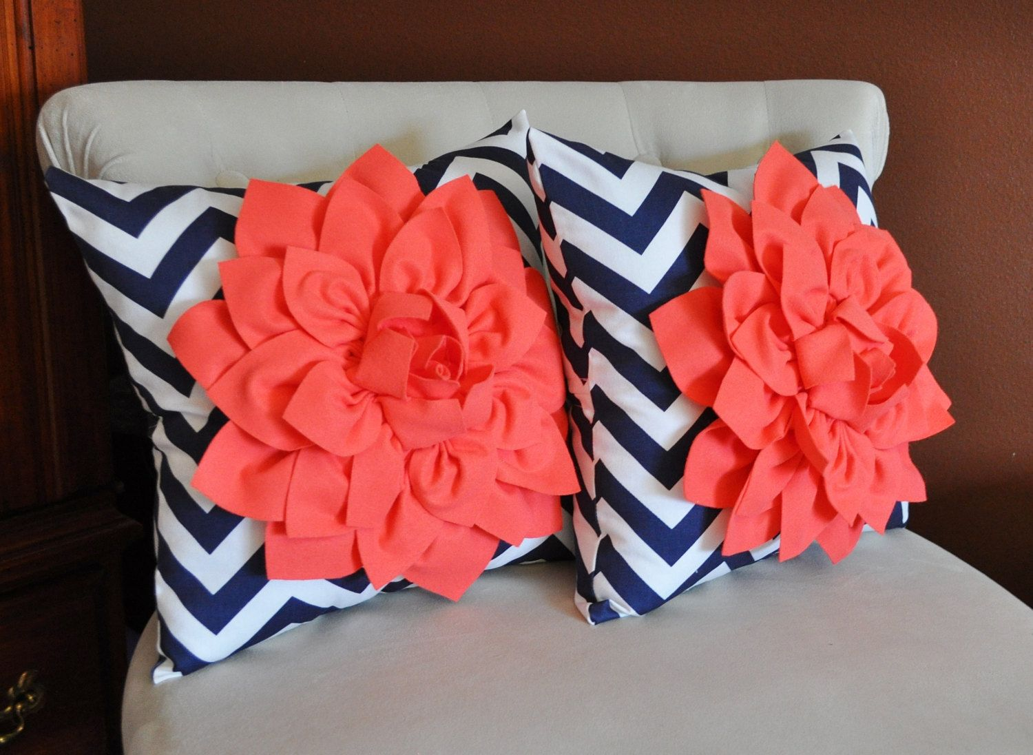 TWO+Coral+Dahlia+on+Navy+and+White+Zigzag+by+bedbuggs+on+Etsy,+$67.00