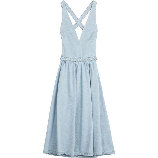 Valentino Denim Dress (3 715 SEK) ❤ liked on Polyvore featuring dresses, robe, blue, retro dress, denim dress, valentino dresses, woven belt and retro style dresses