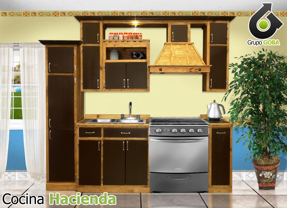 Cocina r stica con puertas color chocolate campana for Cocinas con chimenea
