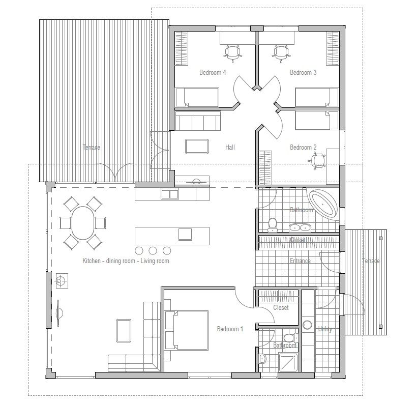 Modern House Ch28 Floor Plans And Blueprints I Like The Smaller Tv Area Behind The Kitchen House Plans Floor Plans House Floor Plans