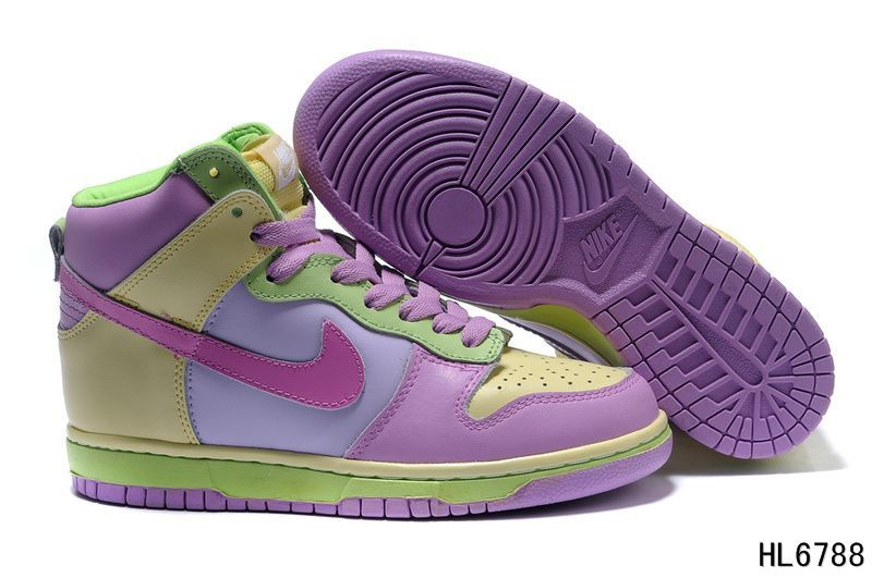 nike dunk Women | Nike Dunk High Customs Womens Sneakers Pink Yellow Green  - Nike Dunk