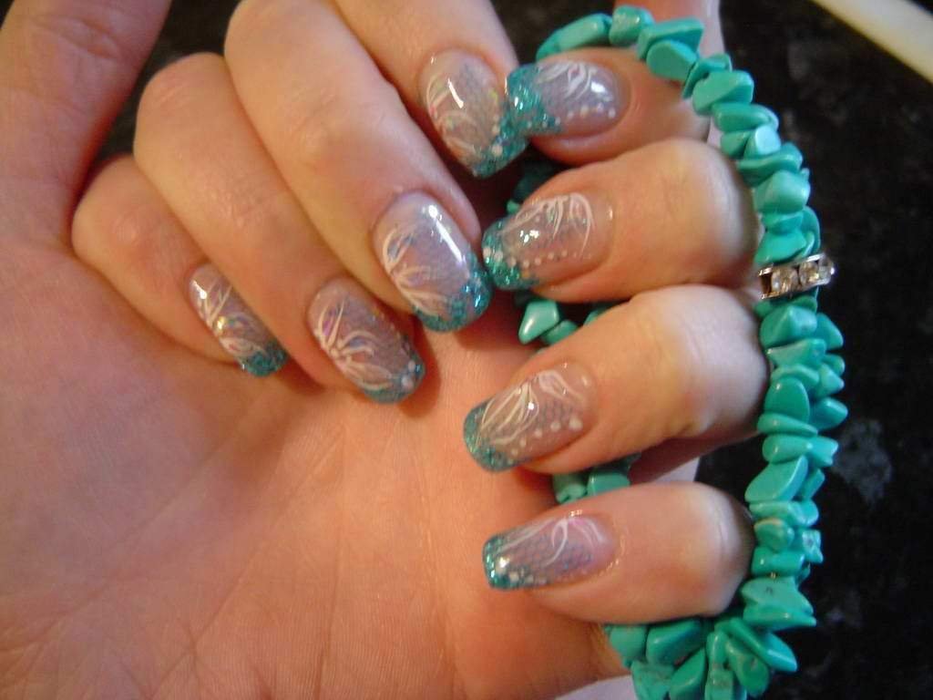 Abstract turquoise nail design with mesh and flowers - Abstract Turquoise Nail Design With Mesh And Flowers Nails <3