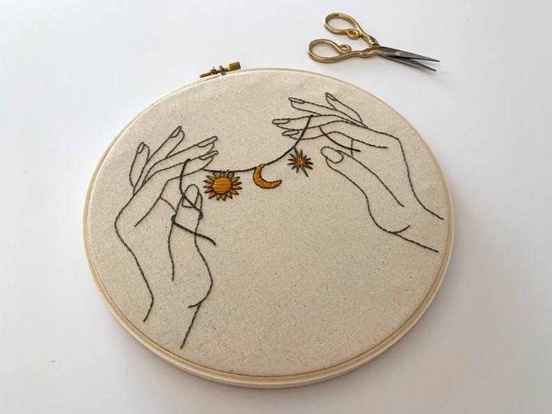 Space Charms Celestial pattern Hand embroidery modern embroidery guide stitching tutorial diy embroidery patterns and how to hoop art – DIY's.