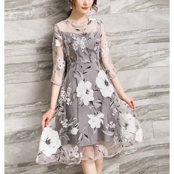 74cda6382d3da8 Trendy Voile Splicing 3/4 Sleeve Floral Print A-Ling Dress For Women - S  GRAY