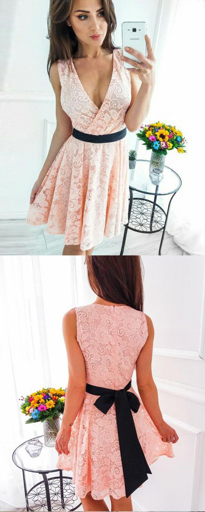 Vneck pink pleated lace short party dress with black belt hd