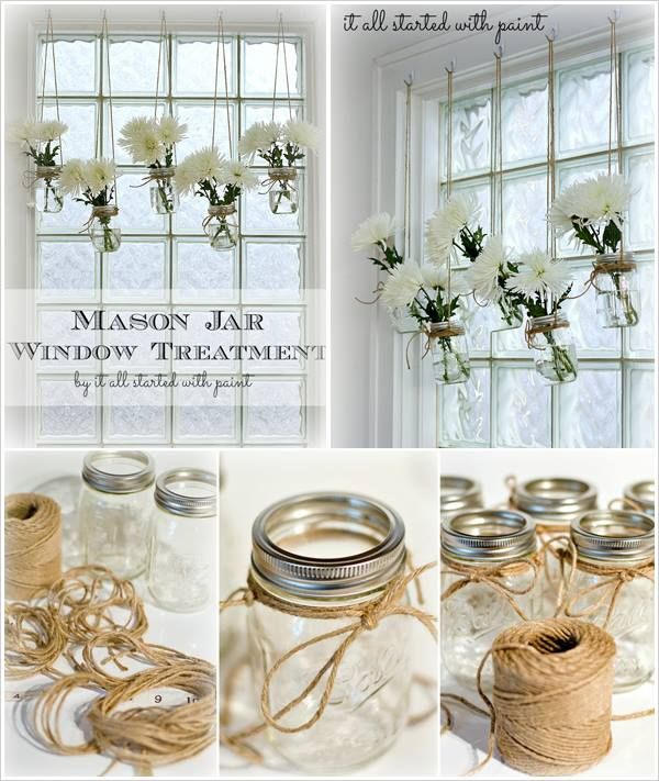 Mason jar window treatment cut flowers jute and centerpieces hang from tree branches trellis rafter or other over head for wedding decoration or floating centerpieces simply attach mason jars to hooks using jute junglespirit Gallery