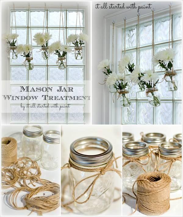 Mason jar window treatment cut flowers jute and
