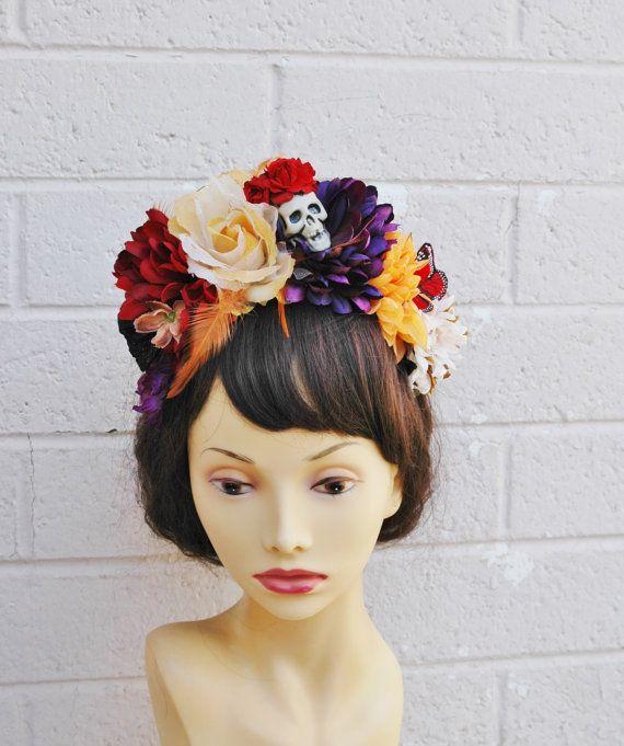 Dia De Los Muertos Headband Skull Flower Crown Headband Flower Crown Day Of The Dead Headband Day Of The Dead Dia De Los Muertos Flower Crown