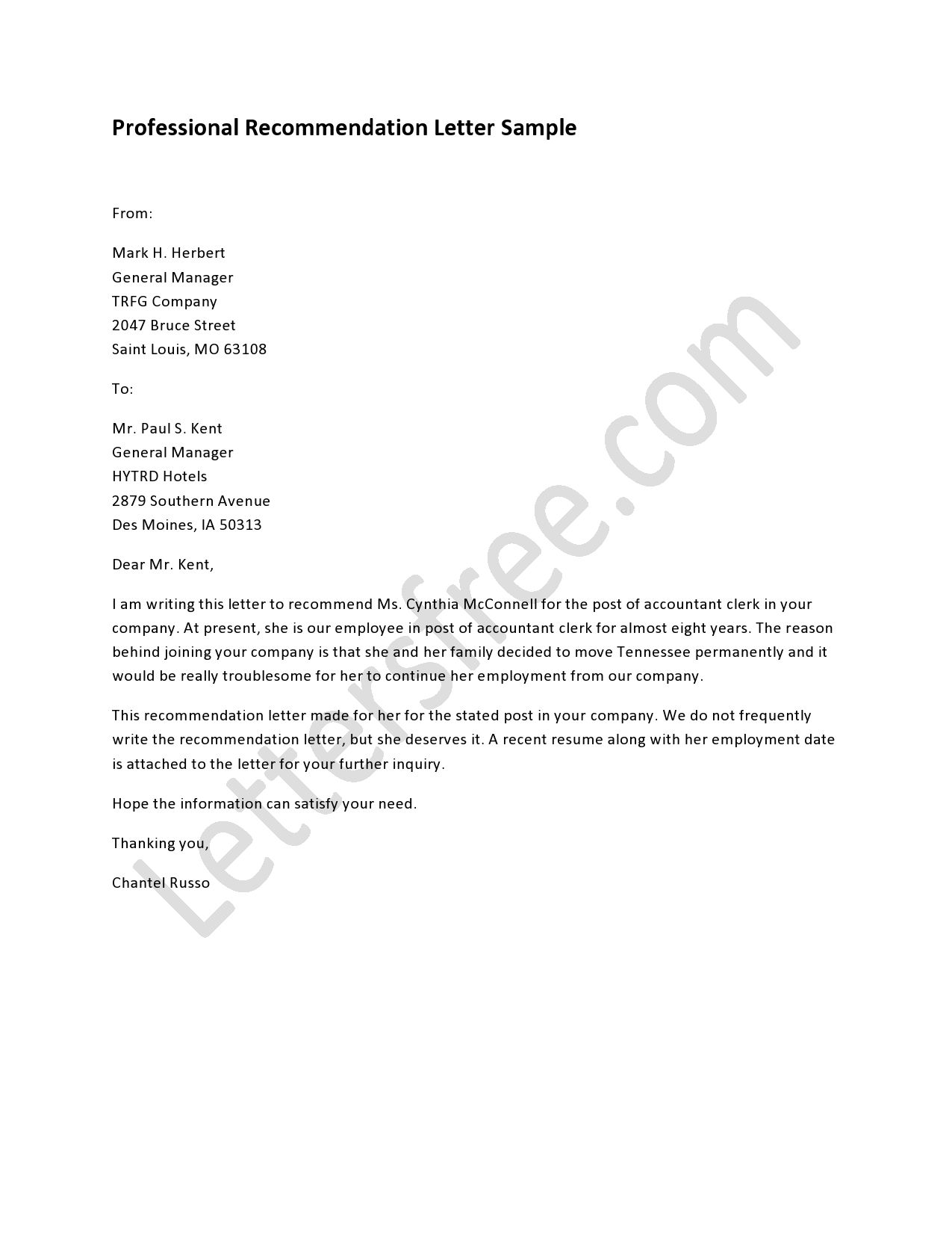 Professional Recommendation Letter  Business Planning Sample
