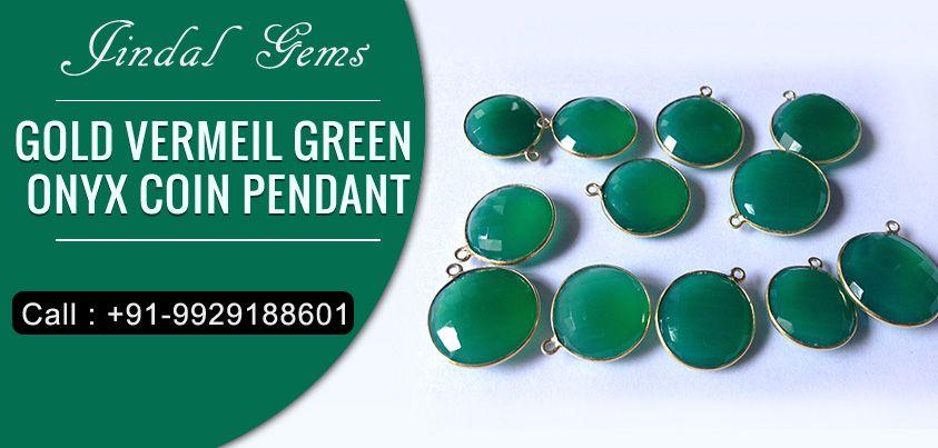 Gold Vermeil Green Onyx Coin Pendant