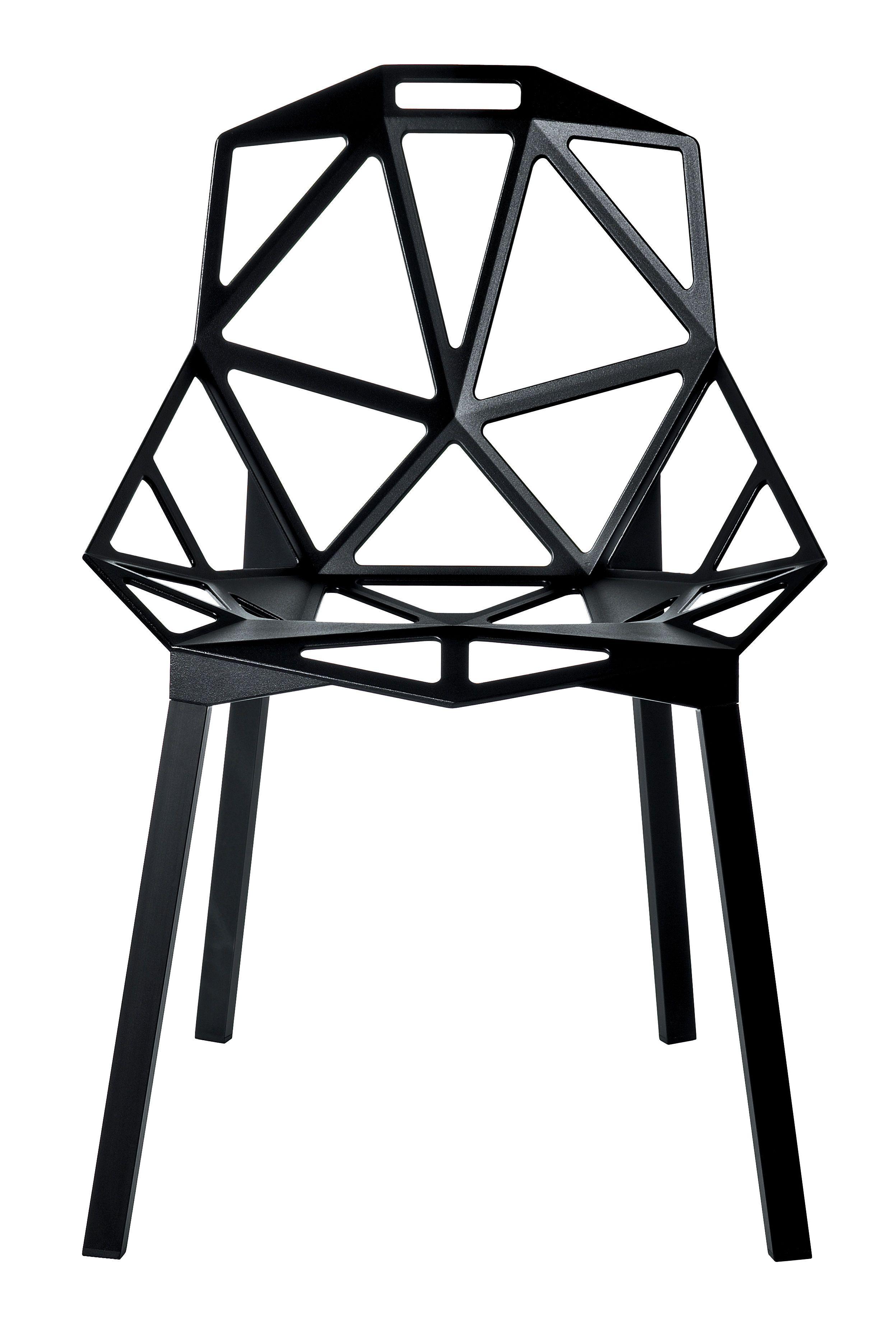 Chaise empilable Chair one / Métal Noir / Pieds noirs - Magis ...