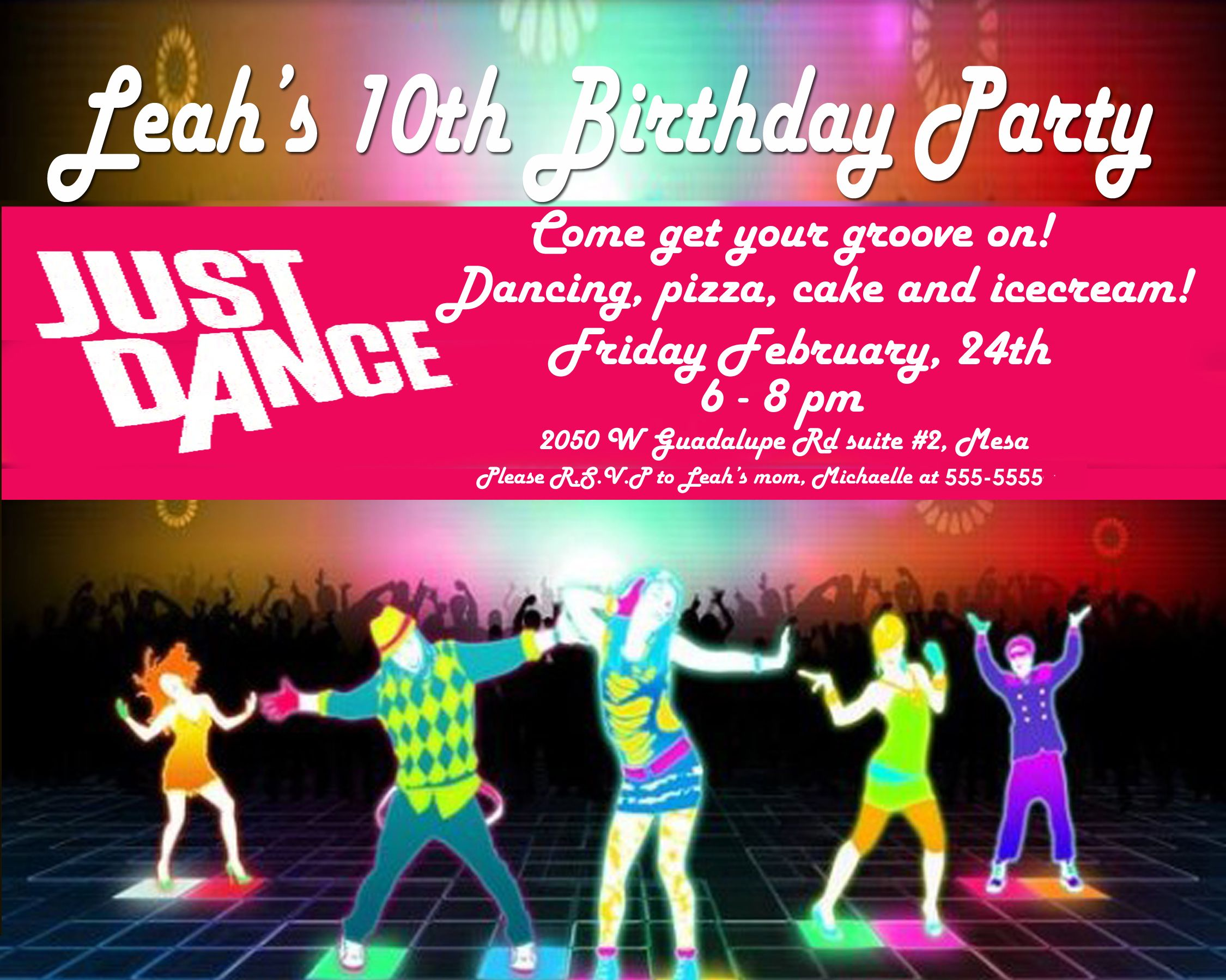 just dance party invite    we had a projector set up with