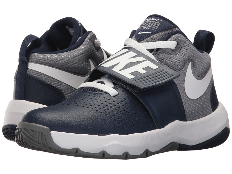 best service 126ab e4a95 Nike Kids Team Hustle D8 (Big Kid) Boys Shoes Midnight Navy White Cool Grey