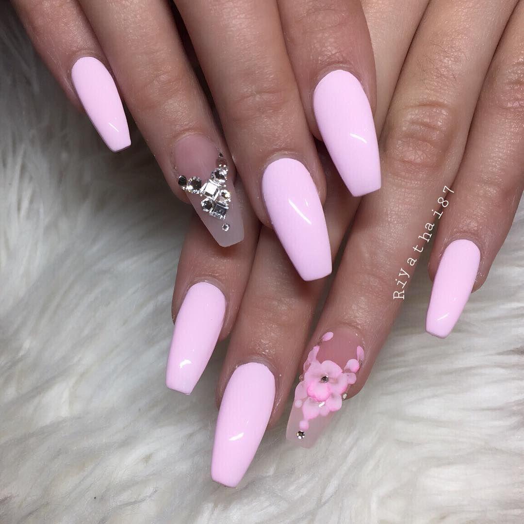 Pink + Flowers + Bling Long Coffin Nails #nail #nailart ...
