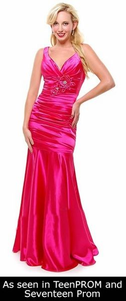 Hot Pink Mermaid Bridesmaid Dress Plus Size Pleated Wide Strap