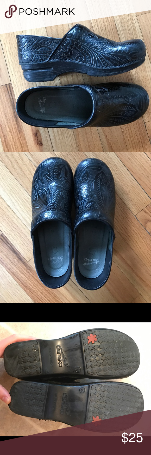Dansko black clogs Black, floral design Danskos. Very little wear, in great shape. Dansko Shoes Mules & Clogs