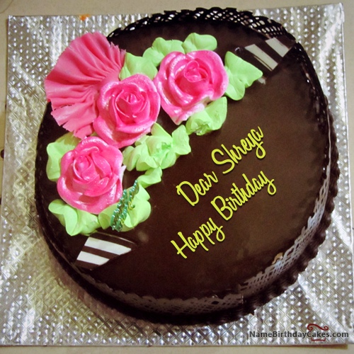 The Name Dear Shreya Is Generated On Chocolate Birthday Cake For