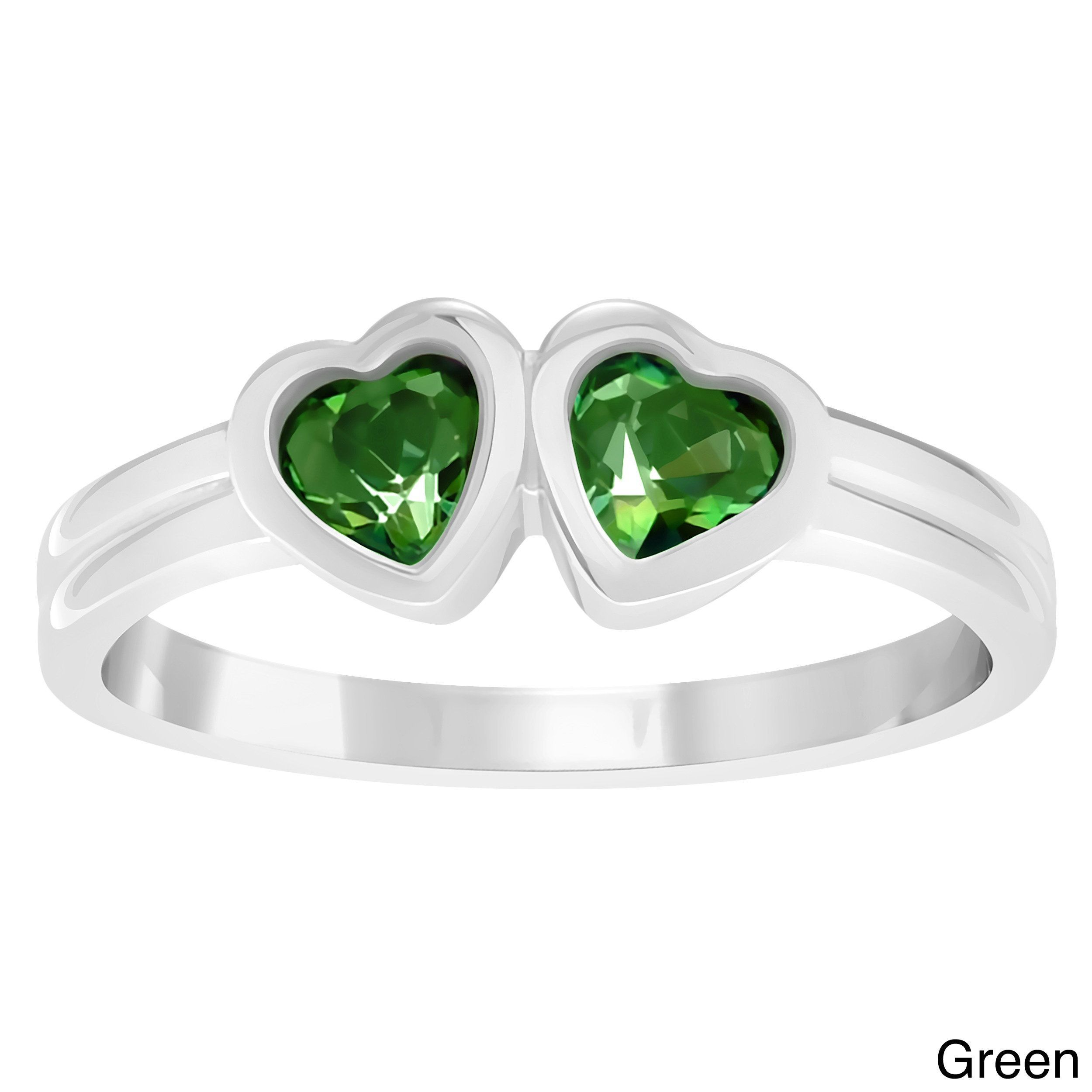 Journee Collection Children's Sterling Silver Cubic Zirconia Heart Ring (Green, Size 3), Girl's