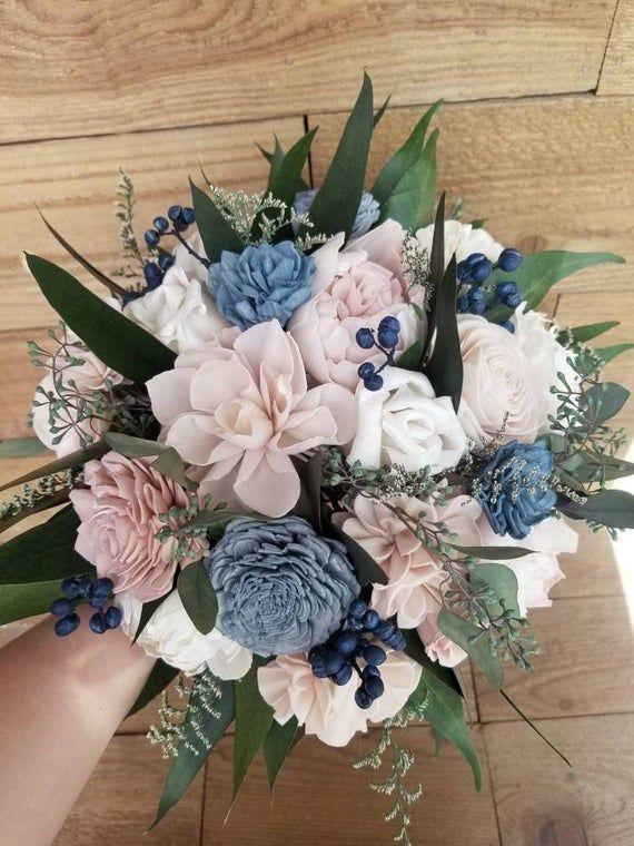 Custom Bouquet Navy Blush Dusty Slate Blue Sola wood Peony | Etsy