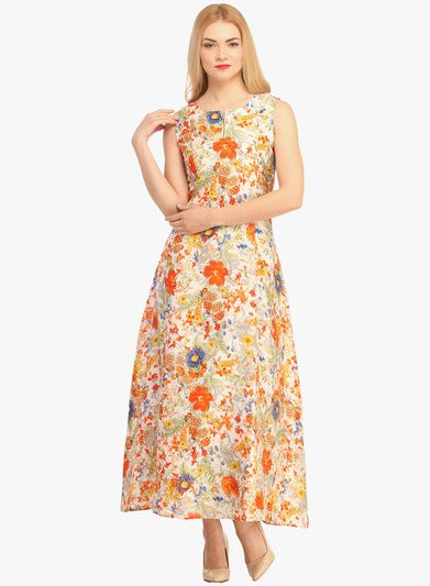 Buy Cottinfab Orange Printed Maxi Dress for Women Online India 1af084eae