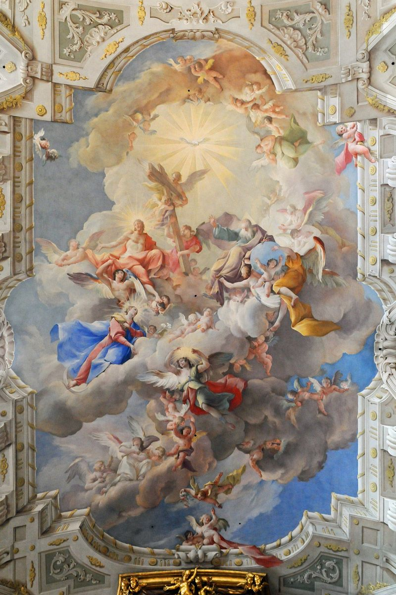 church with painting on the ceiling