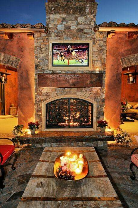 Outside + Fireplace + TV = Never leave