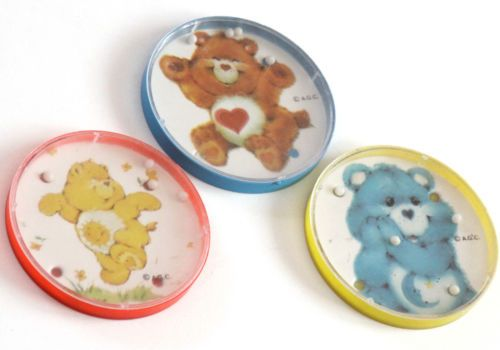 3 Vtg 1980s Care Bears Palm Puzzle Game Hong Kong Plastic Marble Round Dexterity