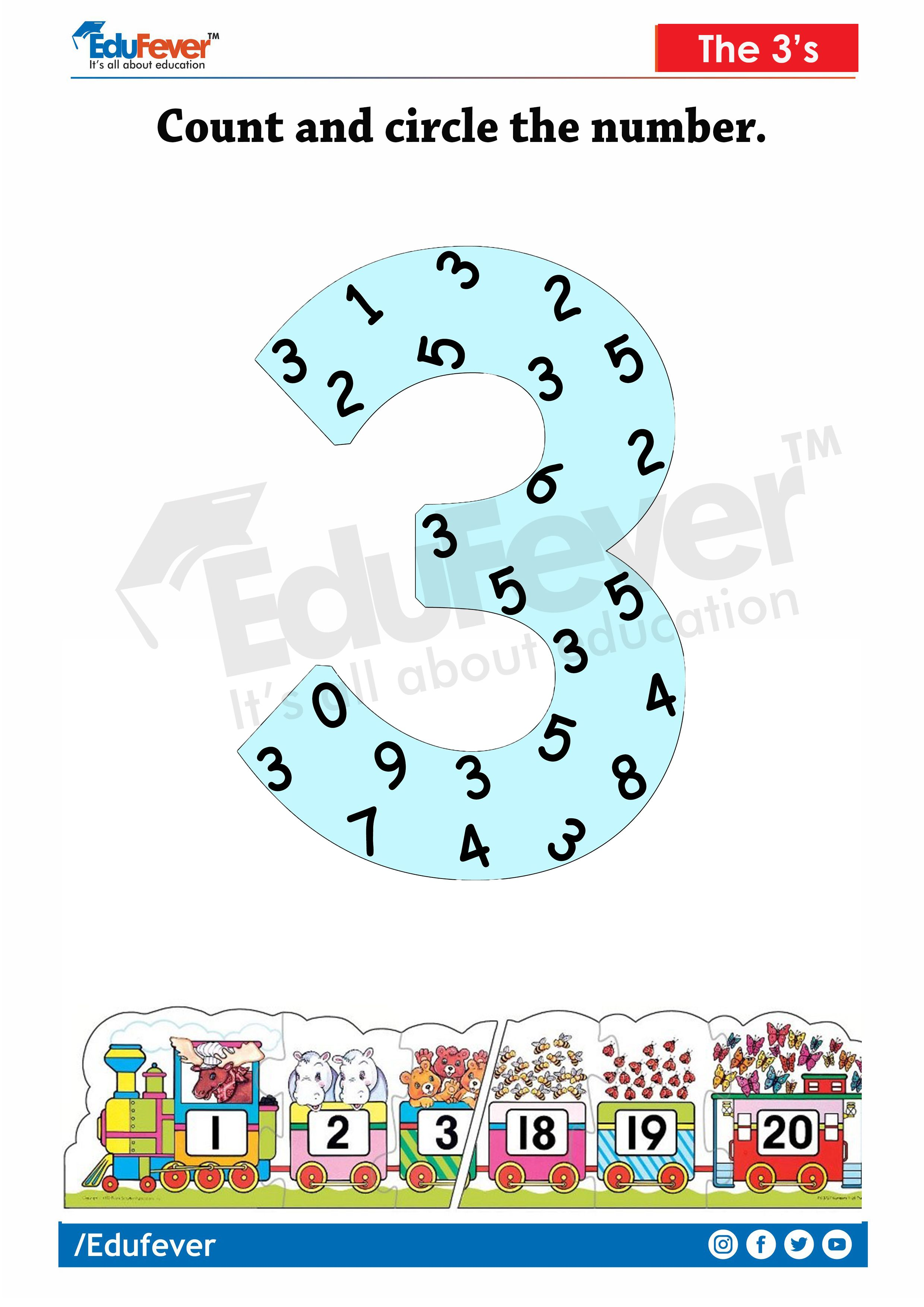 Lkg Worksheet Count And Circle The Number In
