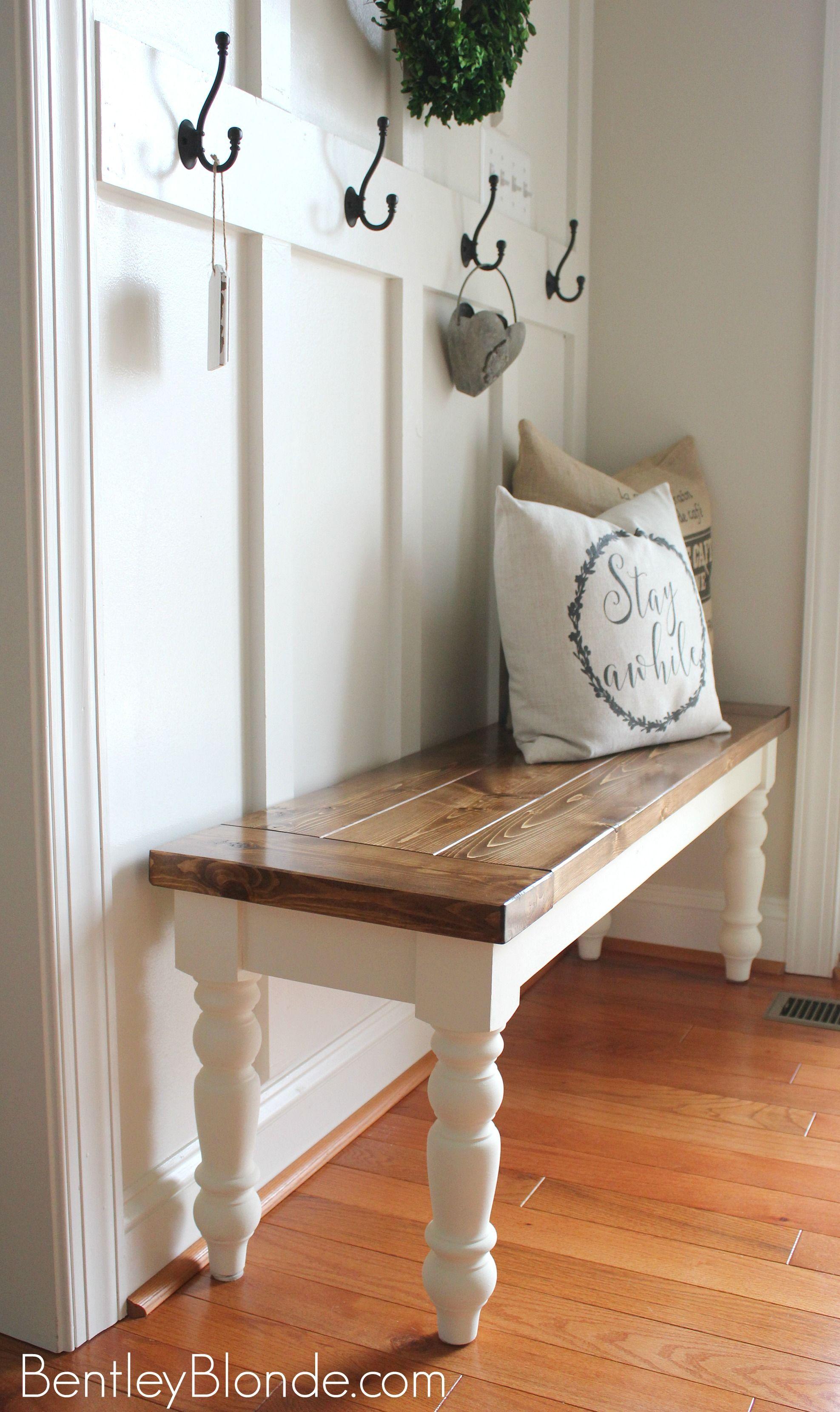 DIY FARMHOUSE BENCH Tutorial Bench decor, Home decor
