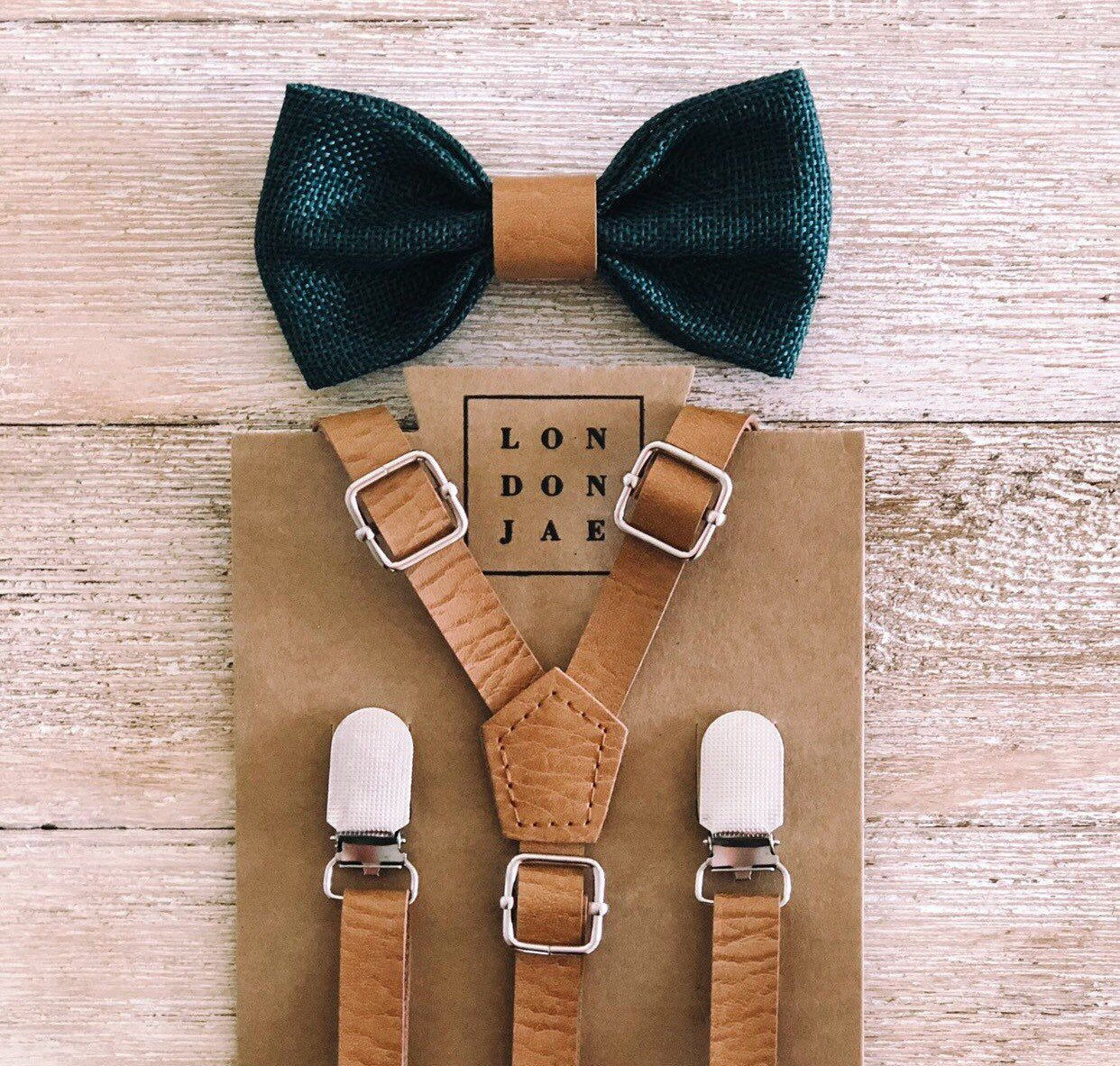 Brown suspenders green bow with brown leather center