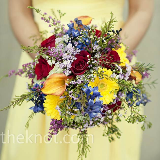 Wedding Bouquet Red Roses Blue And Yellow Flower Mix Colorful