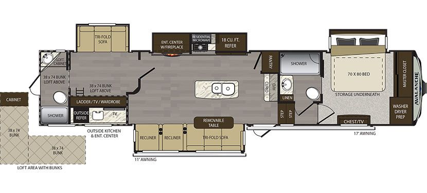 Avalanche 395bh Perfect Fulltime Home Fifth Wheel Rv Floor Plans