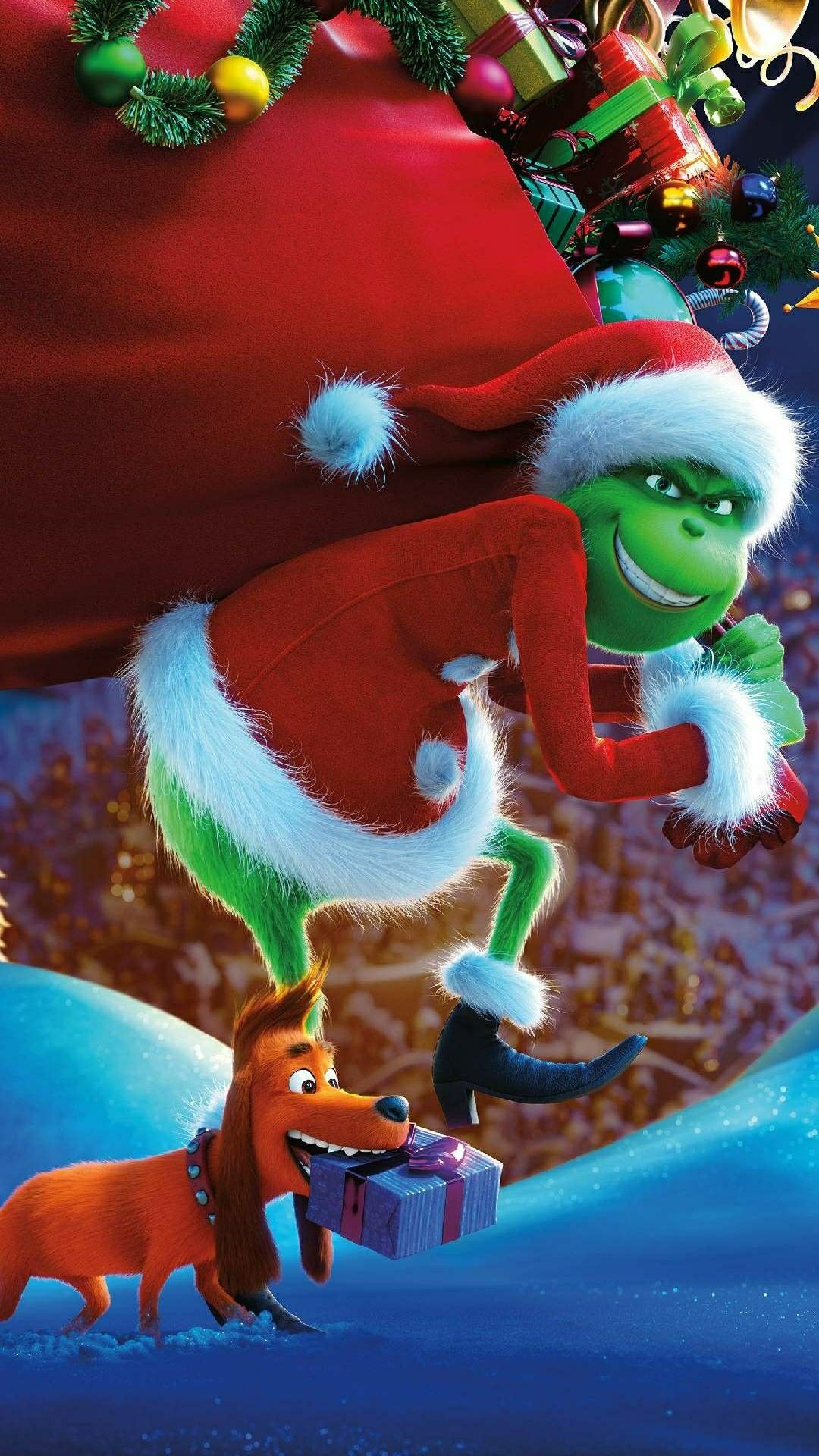 This grinch wallpaper is everything Christmas ornaments