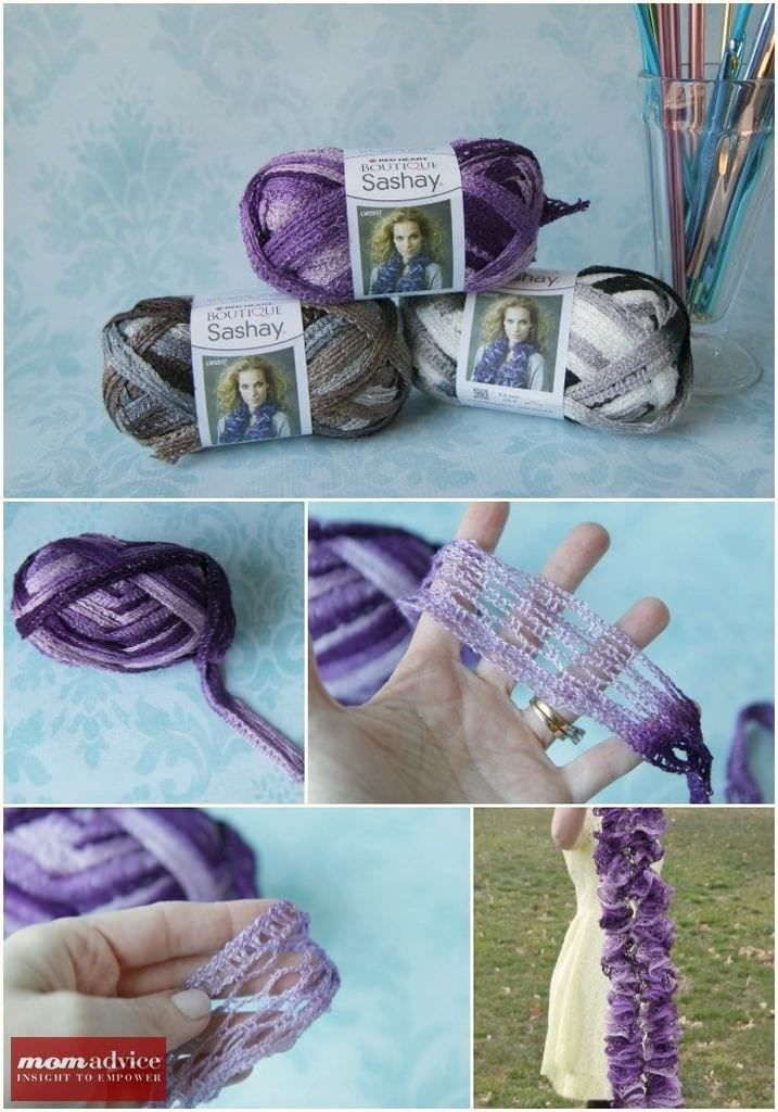 Easy Knitted Ruffled Scarf With Sashay Yarn   Knit patterns, Yarns ...