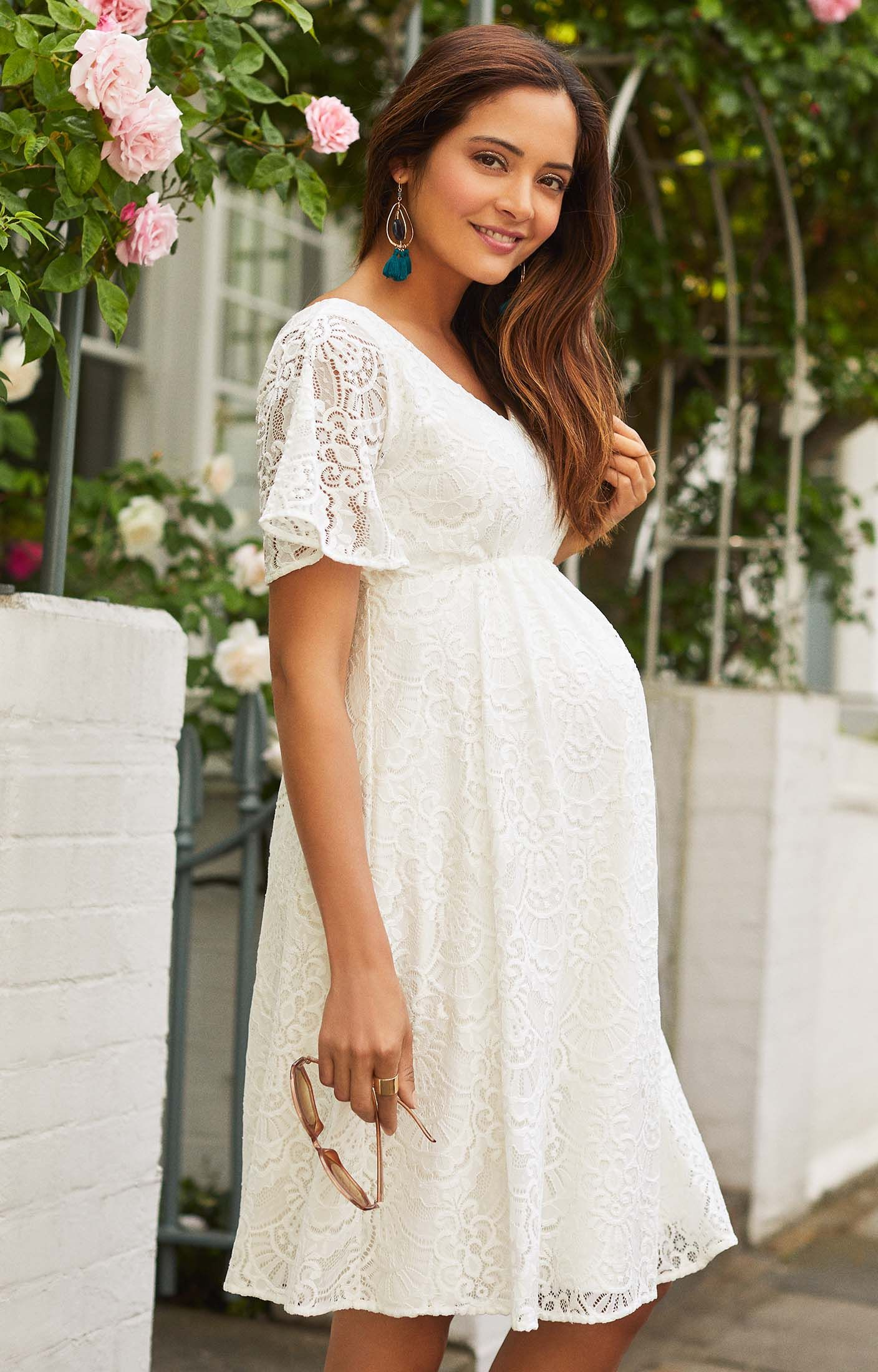 7415161bfbf89 Maternity Dress | Baby Shower Dress | Maternity Bridal | White Maternity  Dress | Boho Maternity Dress | Our boho Kimono Edith Dress in floral ivory  lace is ...
