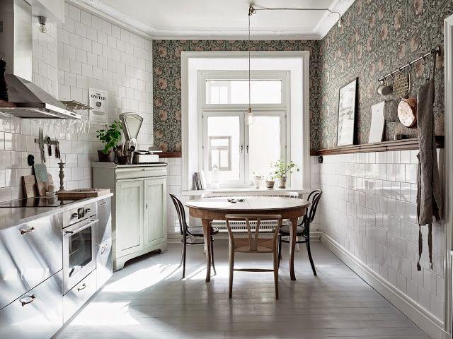 Papel pintado en la cocina etxekodeco cocinas kitchen cocinas acero inoxidable cocinas - Papel pintado para cocinas modernas ...