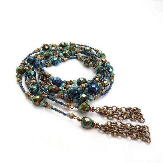 Blue Beaded Lariat - Fire Polished Glass - Seed Bead ...