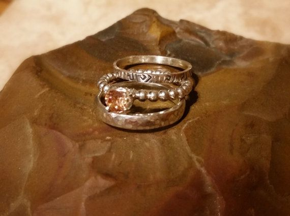 3 Sterling stack rings with a Champagne CZ by CatsCreationsLLC